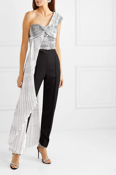 SemSem one-shoulder asymmetric printed pleated crepe top in white