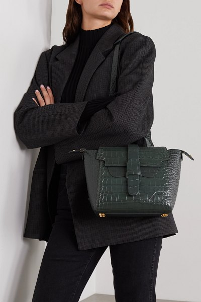 SENREVE mini maestra convertible croc-effect leather shoulder bag in dark green