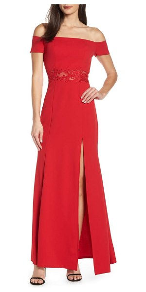 Sequin Hearts off the shoulder scuba crepe evening dress in red