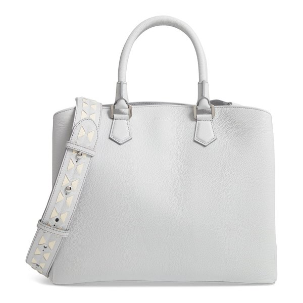 SERAPIAN MILANO luna mosaic leather satchel in moon grey/ cream