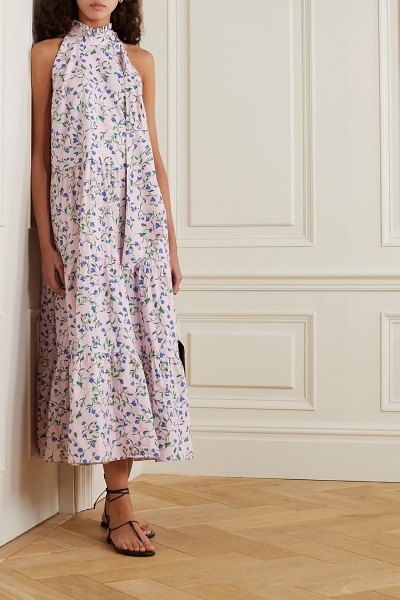 Seren toni tie-neck floral-print organic cotton-voile midi dress in baby pink