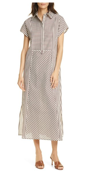 SEVENTY VENEZIA seventy striped popover midi dress in chocolate