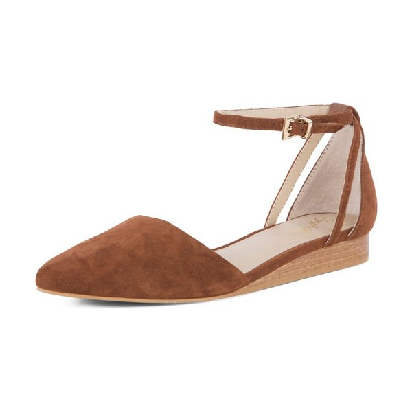 Seychelles plateau ankle strap flat in whiskey suede