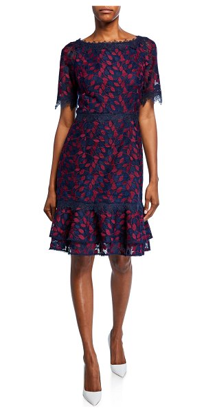 Shani Bateau-Neck Short-Sleeve Embroidered Lace Dress in navy/berry