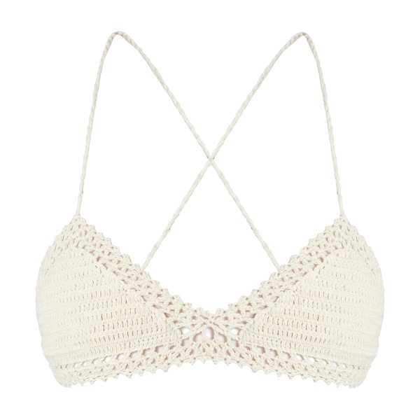 SHE MADE ME Essential crochet triangle bikini top in cream - Tap She Made Me's bohemian aesthetic with this ivory...