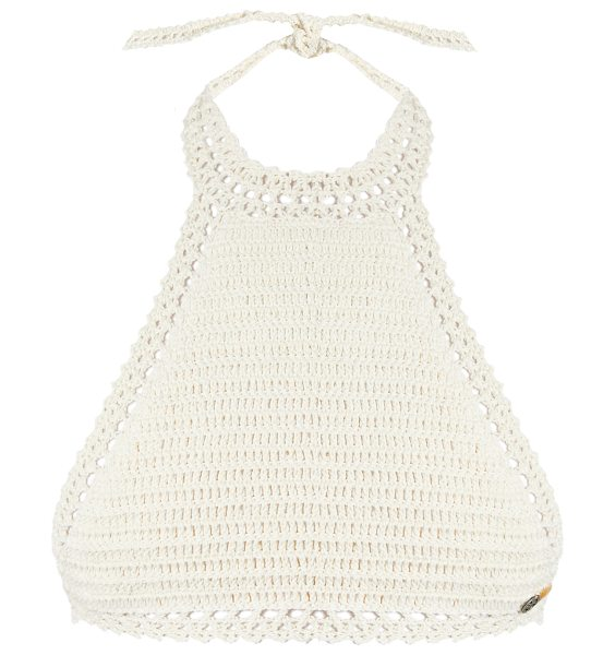 SHE MADE ME Essential halterneck crochet bikini top in cream - She Made Me's Essential cream cotton bikini top has...