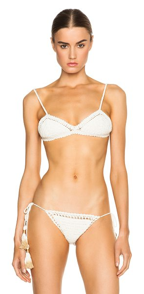 SHE MADE ME Fixed Triangle Bikini Top in white - 100% cotton.  Made in Indonesia.  Crochet knit fabric. ...