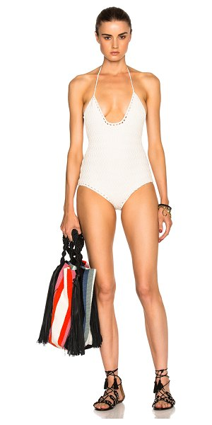 SHE MADE ME Laharia Swimsuit in neutrals,white - 100% cotton.  Made in Indonesia.  Crochet knit fabric. ...