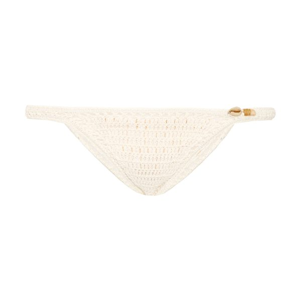 SHE MADE ME Savarna hipster crochet bikini briefs in cream - Bring a glamorous 1970s feel to your vacation edit with...