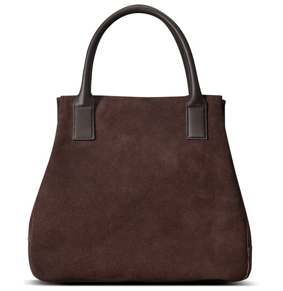 Shinola runwell suede tote in brown - The textural interplay of buttery suede and smooth...