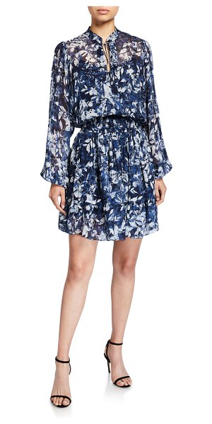 Shoshanna Alura Printed Blouson-Sleeve Smock-Waist Dress in blue pattern
