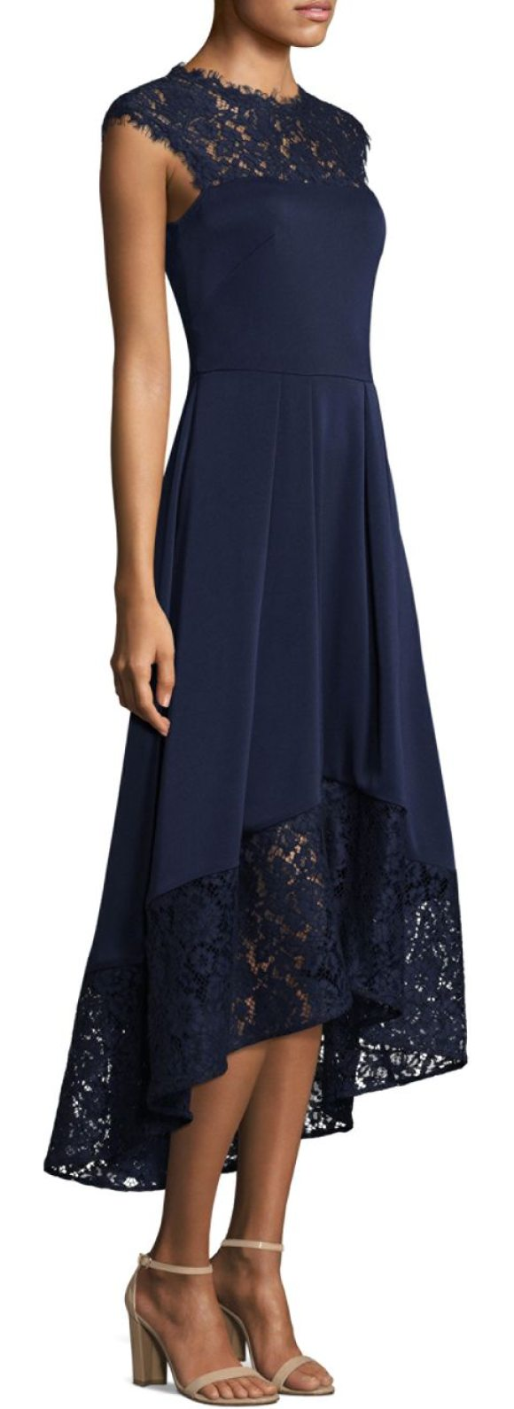 Shoshanna Cap Sleeve Lace Hi-Lo Dress in Blue | Shopstasy