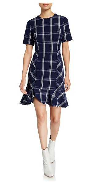 Shoshanna Layton Plaid Textured Crepe Short-Sleeve Dress in blue pattern