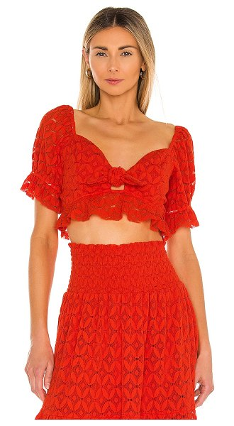 Show Me Your Mumu coco crop top in spacey lacey red