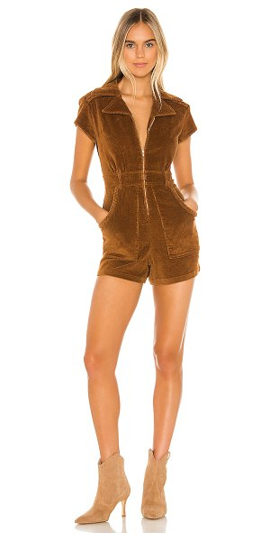 Show Me Your Mumu outlaw romper in saddle brown