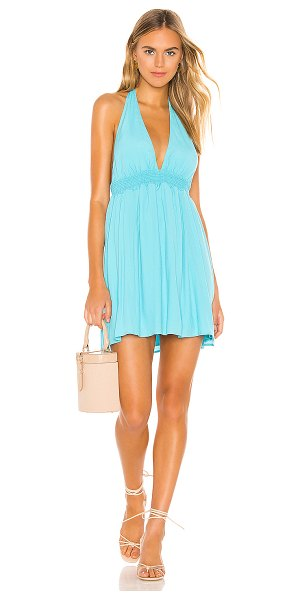 Show Me Your Mumu x revolve island mini dress in turquoise crepe