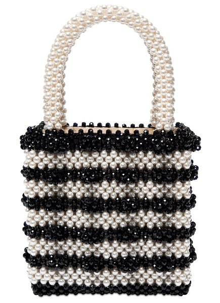 Shrimps Antonia beaded bicolor top handle bag in black,off white