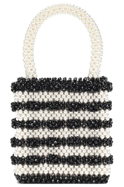 Shrimps antonia beaded tote in black