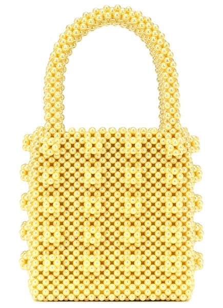 Shrimps antonia beaded tote in yellow