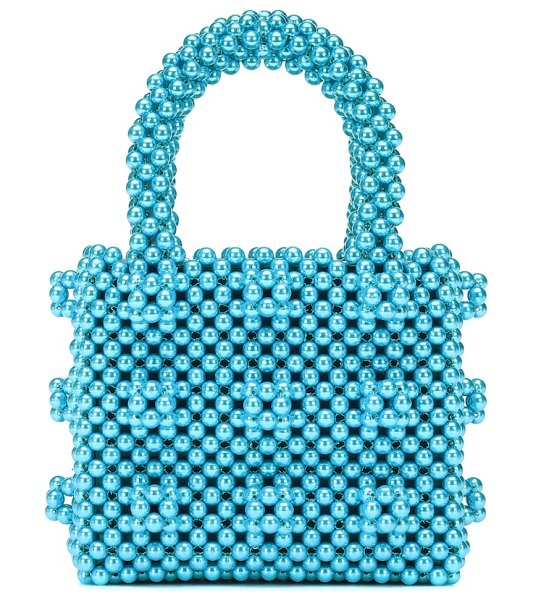 Shrimps antonia mini beaded tote in blue