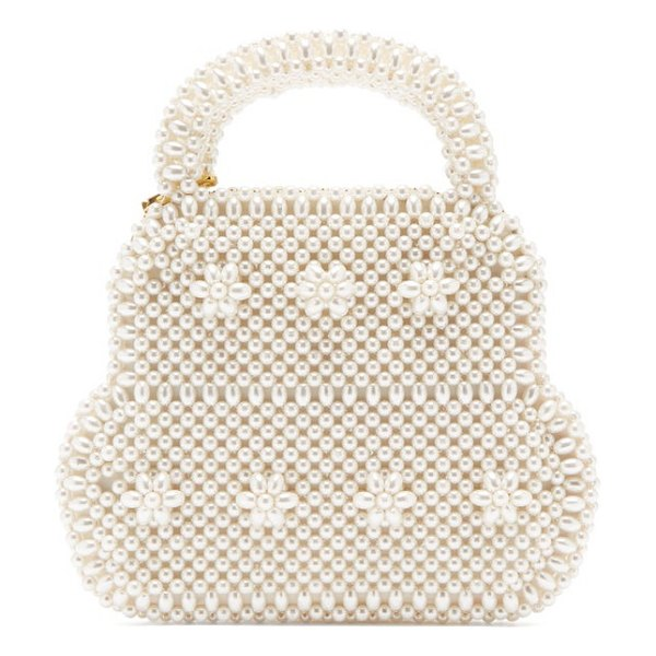 Shrimps august faux-pearl embellished bag in cream