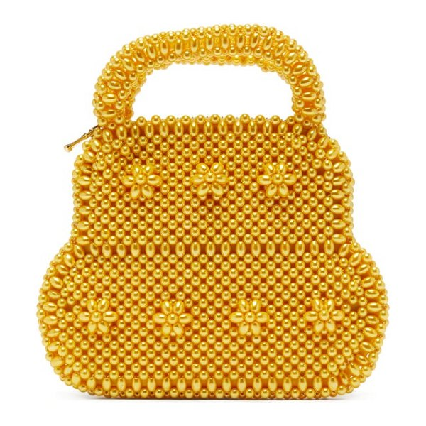 Shrimps august faux-pearl top-handle bag in yellow