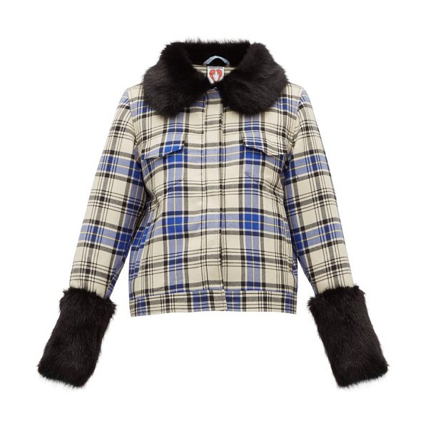 Shrimps brutus checked-wool jacket in blue multi