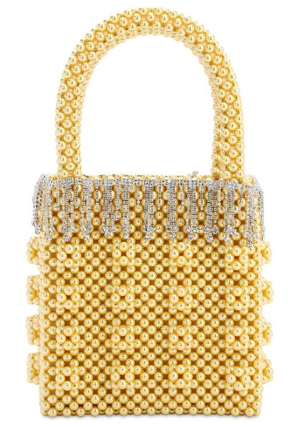 Shrimps Huckleberry beaded top handle bag in yellow