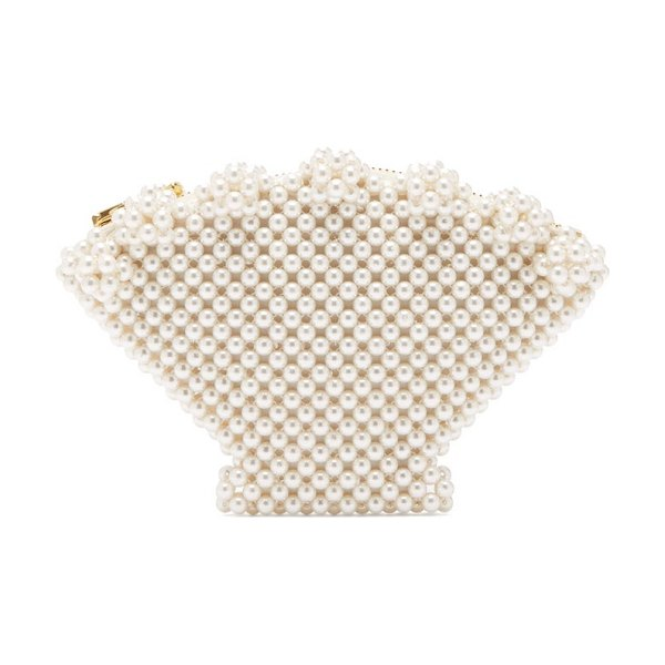 Shrimps shell faux pearl-embellished clutch in cream