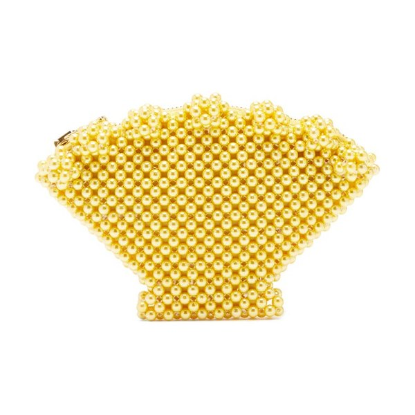 Shrimps shell faux-pearl purse in yellow