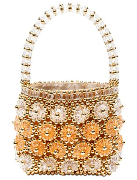 Shrimps Shelly beaded top handle bag in gold,apricot