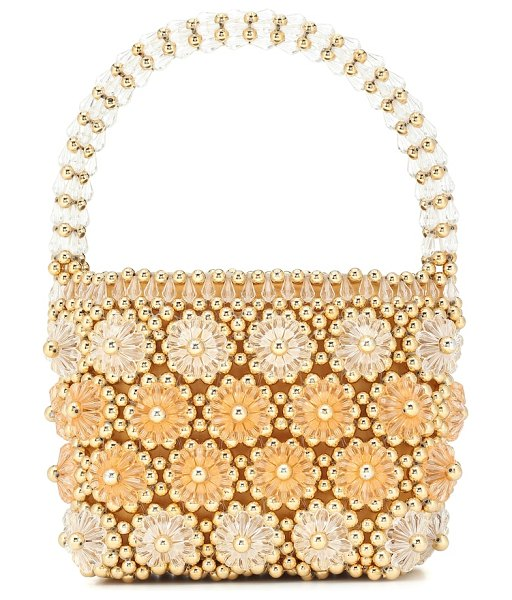 Shrimps shelly beaded tote in yellow