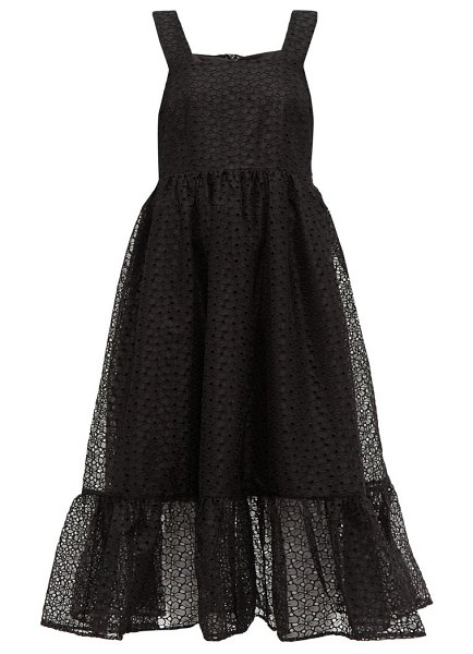 Shrimps sylvia floral-organza pinafore dress in black