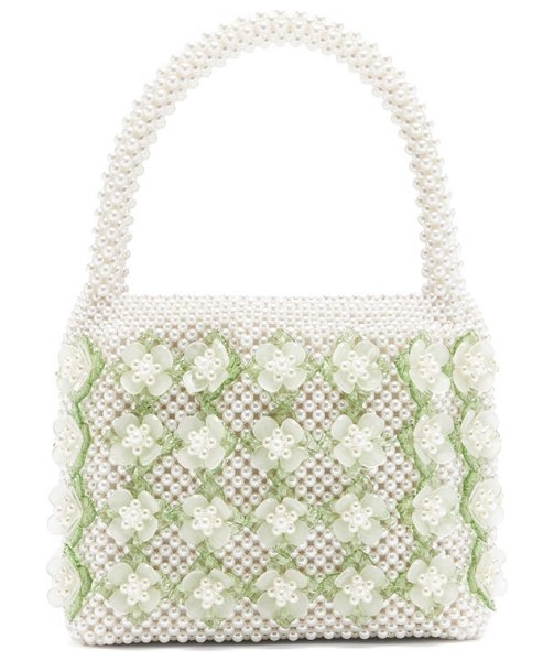 Shrimps thelma faux-pearl embellished bag in cream multi