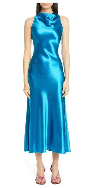 SIES MARJAN andy cowl neck satin a-line midi dress in sapphire blue