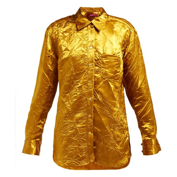 SIES MARJAN sander crinkled-satin shirt in gold