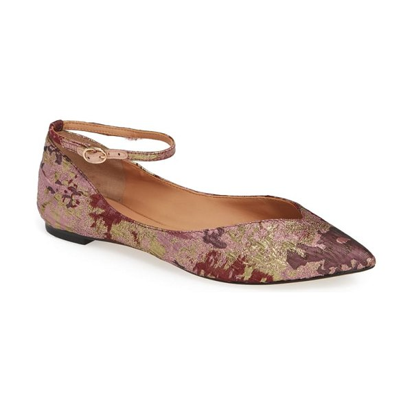 Sigerson Morrison mary jane flat in pink - Metallic thread shimmers all over an ornate pointy-toe...