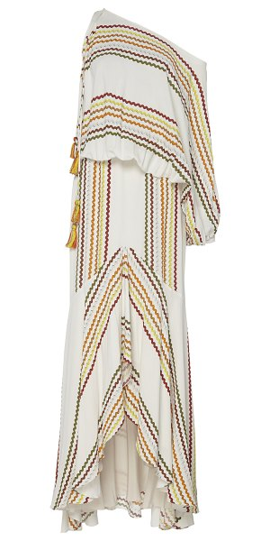 Silvia Tcherassi celina tasseled printed one-shoulder maxi dress in white