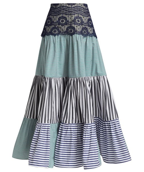 Silvia Tcherassi flager patchwork maxi skirt in blue
