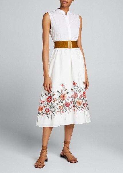 Silvia Tcherassi Floral-Embroidered Belted Midi Dress in rose embroidered