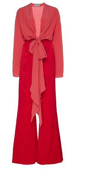 Silvia Tcherassi kalamary tie-detailed silk jumpsuit in red