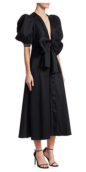 Silvia Tcherassi miosotis a-line shirtdress in navy - Structural puff sleeves elevate this satin shirtdress...