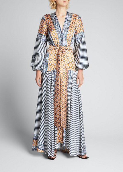 Silvia Tcherassi Mixed-Print Satin Belted Long Dress in blue stripemosaic