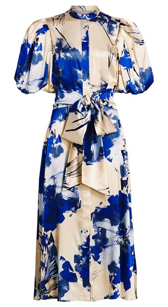 Silvia Tcherassi ophelia puff sleeve midi dress in blue floral
