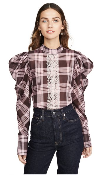 Silvia Tcherassi plaid blouse with puff shoulders in pink plaid