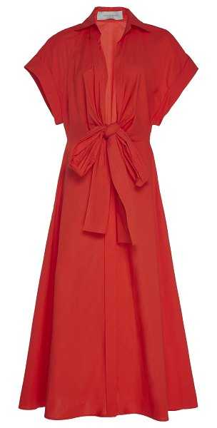 Silvia Tcherassi sampuesana tie-detailed cotton-poplin midi dress in red