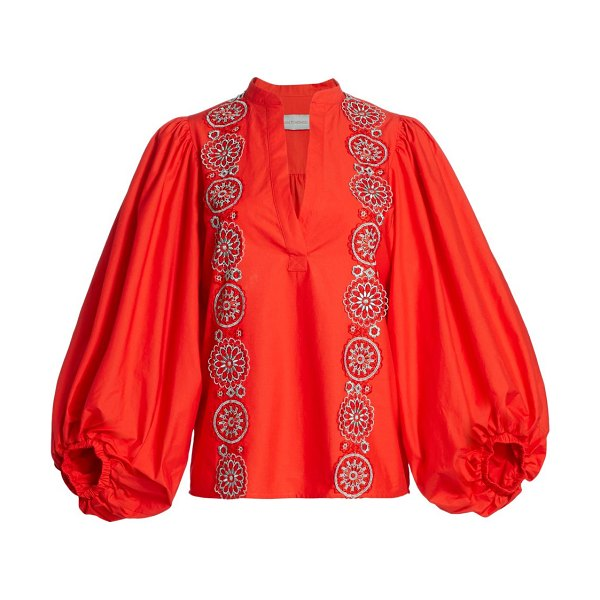 Silvia Tcherassi sanford puff-sleeve embroidered shirt in red