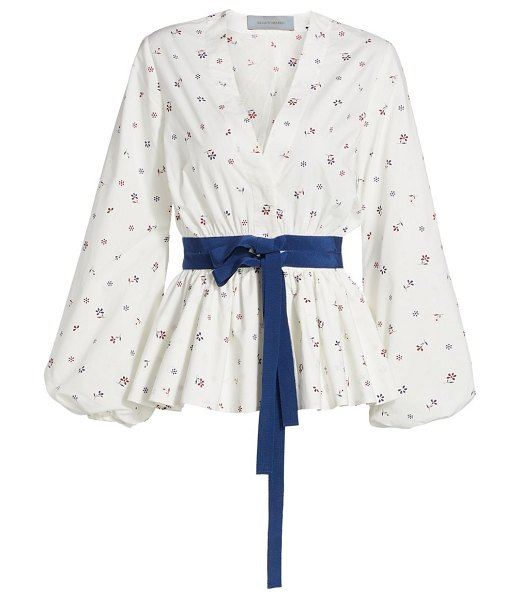 Silvia Tcherassi sarah floral peplum blouse in white ditsy floral