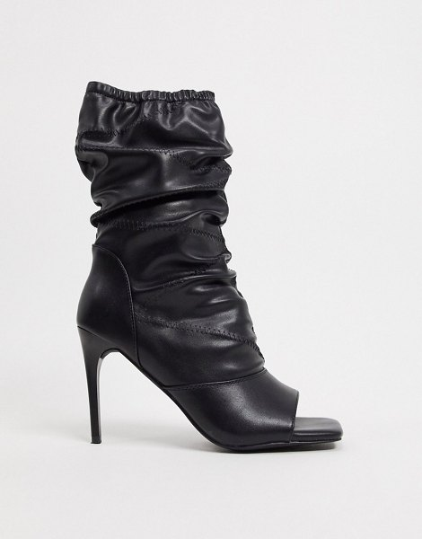 SIMMI Shoes simmi london killy ruched stiletto boots with open toe in black in black