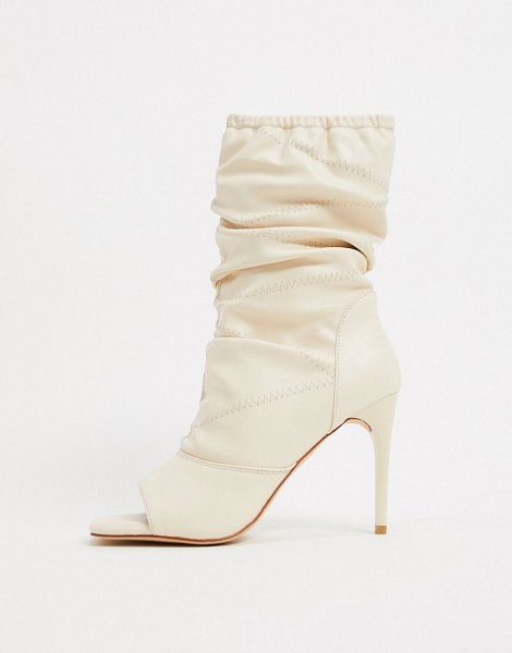 SIMMI Shoes simmi london killy ruched stiletto boots with open toe in white-cream in cream